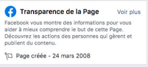 publicité facebook transparence page